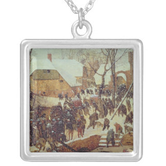 Winter Scene, 16th century Silver Plated Necklace