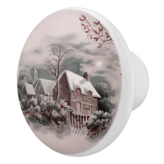 winter scene A Ceramic Knob