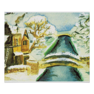 Winter scene, canals in the snow poster