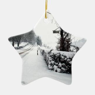 Winter Scene Cold Country Road Ceramic Ornament