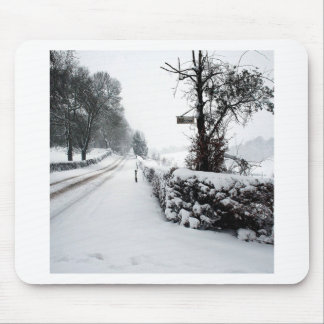 Winter Scene Cold Country Road Mouse Pad