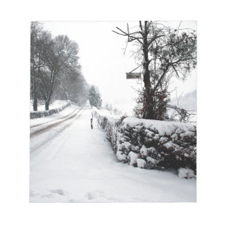 Winter Scene Cold Country Road Memo Notepads