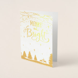 winter scene Corporate Holiday Greeting Foil Card