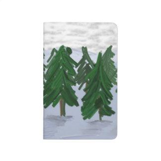 Winter Scene Evergreens Tree Snow Covered Seasonal Journal