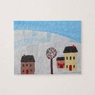 Winter Scene Folk Art Painting Jigsaw Puzzle