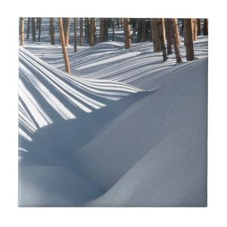 Winter Scene Golden Trees In The Snow Tesuque Small Square Tile
