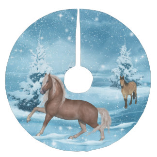Winter Scene Horses Snow  And Trees 3 Brushed Polyester Tree Skirt