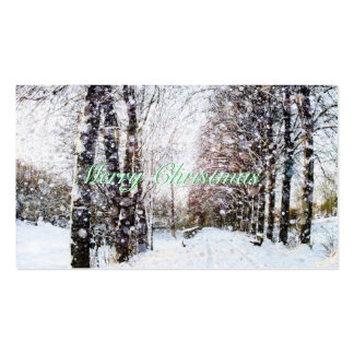 Winter Scene Merry Christmas Green Gift Tags Cards Business Card Template