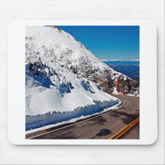 Winter Scene Mountain Road Cold Daytime Mouse Pad