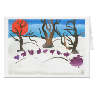 Winter Scene of Make Way for Ducklings Card