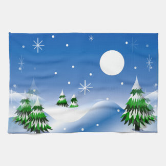 Winter Scene on Kitchen Towel