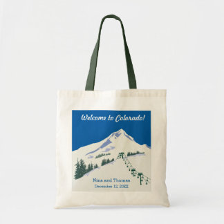 Winter Scene Ski Resort Budget Tote Bag