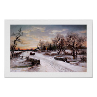Winter Scene Vintage Lithograph Poster
