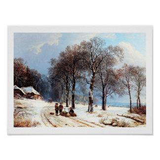 Winter Scene Vintage Painting Poster
