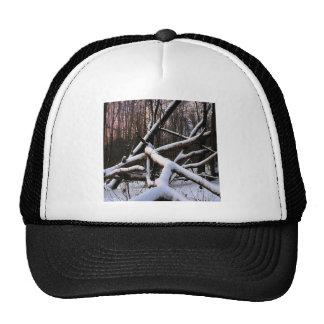 Winter Scene White Powder Woods Trucker Hats