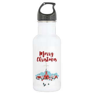 Winter Scene with a Red Church and Christmas Star 532 Ml Water Bottle