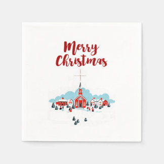 Winter Scene with a Red Church and Christmas Star Disposable Serviette