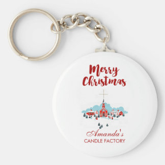 Winter Scene with a Red Church and Christmas Star Key Ring