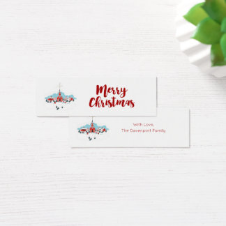 Winter Scene with a Red Church and Christmas Star Mini Business Card