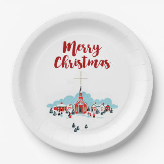 Winter Scene with a Red Church and Christmas Star Paper Plate