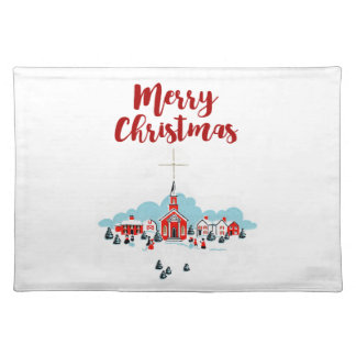 Winter Scene with a Red Church and Christmas Star Placemat