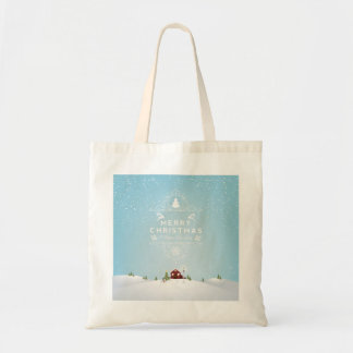 Winter Scene with Red Cabin,Merry Christmas Tote Budget Tote Bag