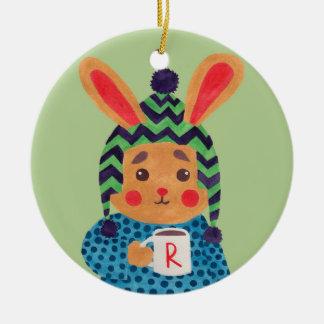 Winter Season is Coming (Rabbit Edition) Round Ceramic Decoration