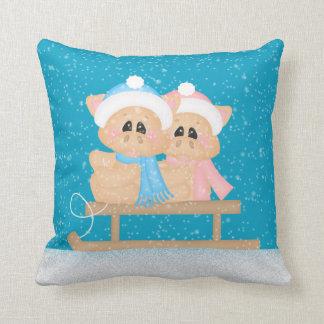 Winter Seasonal pigs Holiday throw pillow
