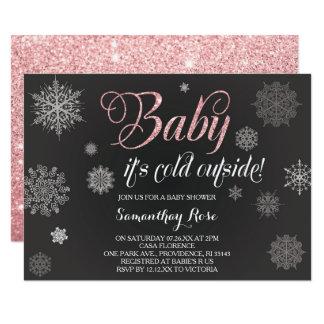 Winter Shower Invitation, Baby Pink Glitter Card