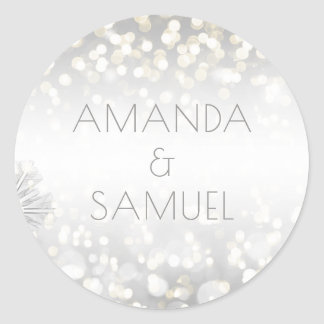 Winter Silver and Gold Sparkle Wedding Classic Round Sticker