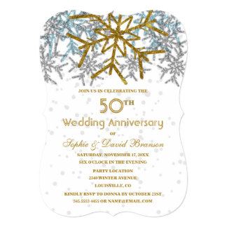 Winter Silver Gold Snowflakes 50th Wedding Party Card