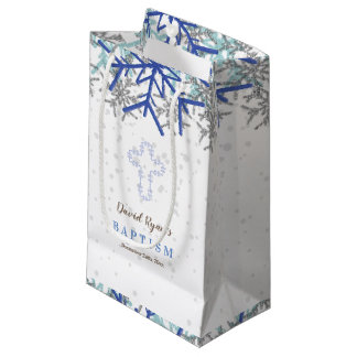 Winter Silver Navy Blue Snowflake Baptism Invite Small Gift Bag
