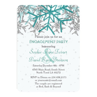 Winter Silver Turquoise Snowflake Engagement Party Card
