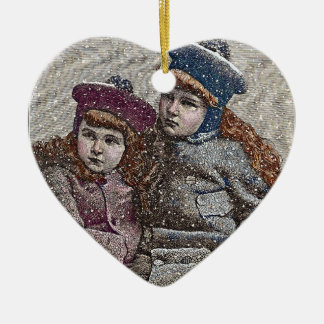 Winter Sisters Ceramic Heart Decoration