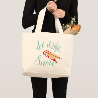 Winter Sled Let It Snow Text Design Large Tote Bag