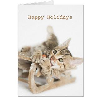 Winter Sleigh Dasher Kitten Card
