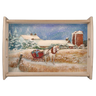 Winter Sleigh Ride Serving Tray