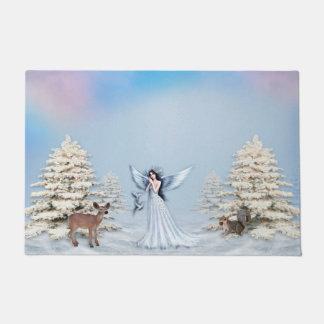 Winter Snow Angel Door Mat
