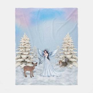 Winter Snow Angel Scene Fleece Blankets