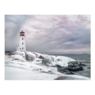 Winter Snow at Peggys Cove Halifax Nova Scotia Postcard