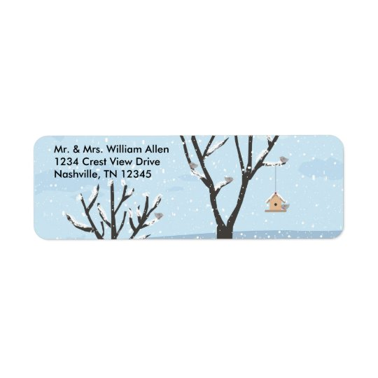 Winter Snow Birds & Birds Nest  Address Labels