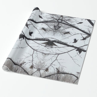 Winter Snow Birds on Branches Wrapping Paper