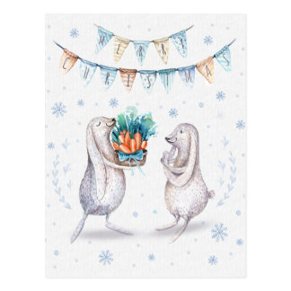 Winter Snow Bunnies Merry Christmas Postcard
