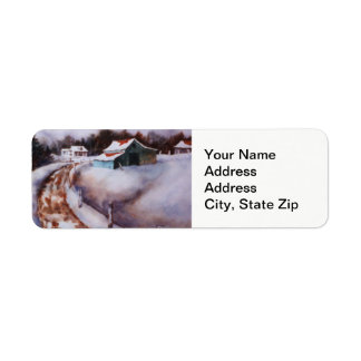 Winter snow covered  barn, farm pine landscape. return address label