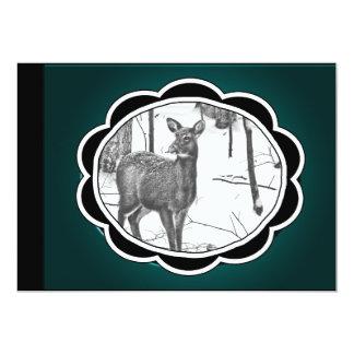 Winter Snow Covered Deer 13 Cm X 18 Cm Invitation Card