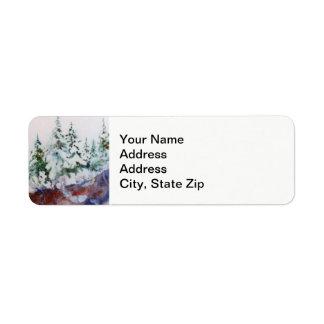 Winter snow covered pines, pink sunrise landscape. return address label