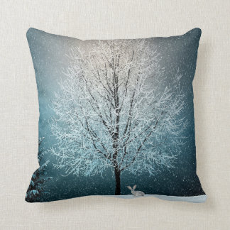 Winter Snow Covered Tree and Bunny Christmas Cushion