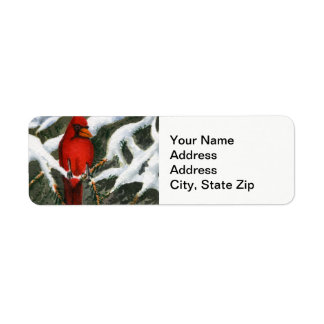 Winter snow covered trees cardinal red bird return address label