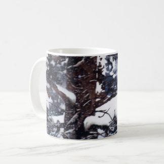 Winter snow covered winter dark pine trees mug
