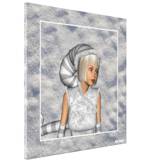 Winter Snow Elf Portrait Christmas Wrapped Canvas Gallery Wrapped Canvas